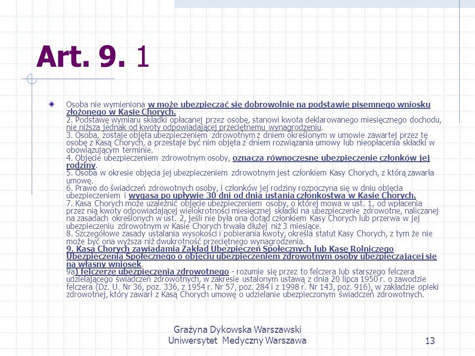 Grażyna Dykowska Warszawski Uniwersytet Medyczny Warszawa13 Art. 9. 1 Osoba nie wymieniona w może ubezpieczać się dobrowolnie na podstawie pisemnego w