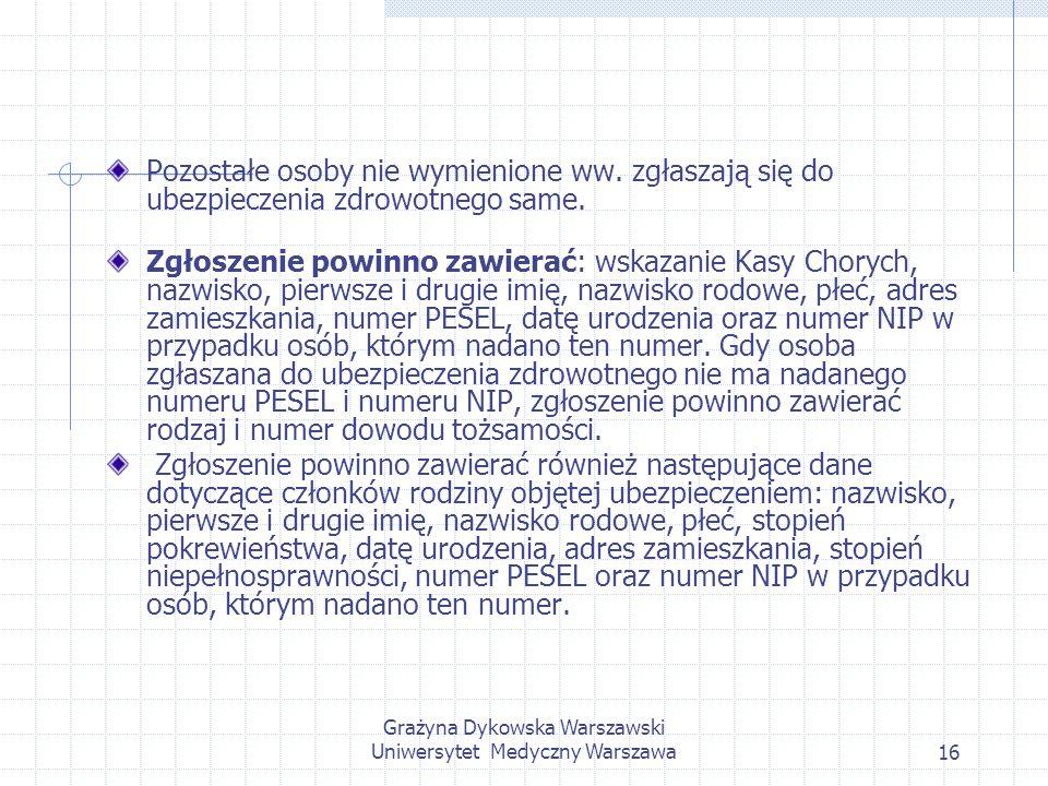Grażyna Dykowska Warszawski Uniwersytet Medyczny Warszawa16 Pozostałe osoby nie wymienione ww. zgłaszają się do ubezpieczenia zdrowotnego same. Zgłosz
