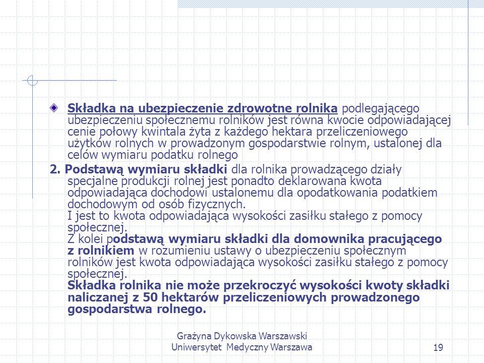Grażyna Dykowska Warszawski Uniwersytet Medyczny Warszawa19 Składka na ubezpieczenie zdrowotne rolnika podlegającego ubezpieczeniu społecznemu rolnikó