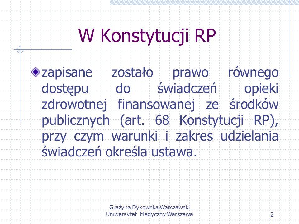 Grażyna Dykowska Warszawski Uniwersytet Medyczny Warszawa2 W Konstytucji RP zapisane zostało prawo równego dostępu do świadczeń opieki zdrowotnej fina