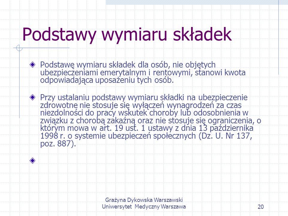 Grażyna Dykowska Warszawski Uniwersytet Medyczny Warszawa20 Podstawy wymiaru składek Podstawę wymiaru składek dla osób, nie objętych ubezpieczeniami e