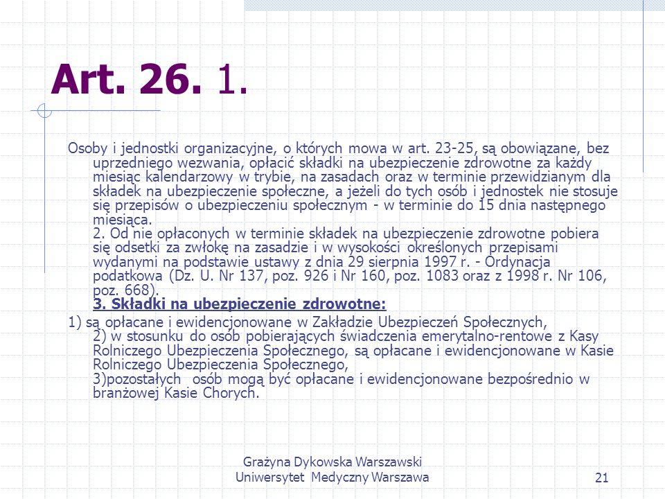 Grażyna Dykowska Warszawski Uniwersytet Medyczny Warszawa21 Art. 26. 1. Osoby i jednostki organizacyjne, o których mowa w art. 23-25, są obowiązane, b