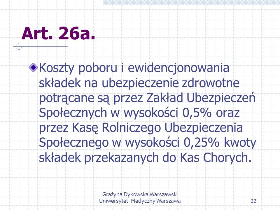 Grażyna Dykowska Warszawski Uniwersytet Medyczny Warszawa22 Art. 26a. Koszty poboru i ewidencjonowania składek na ubezpieczenie zdrowotne potrącane są