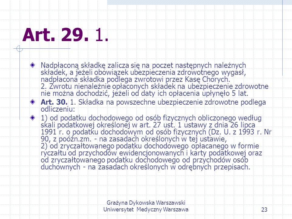 Grażyna Dykowska Warszawski Uniwersytet Medyczny Warszawa23 Art. 29. 1. Nadpłaconą składkę zalicza się na poczet następnych należnych składek, a jeżel