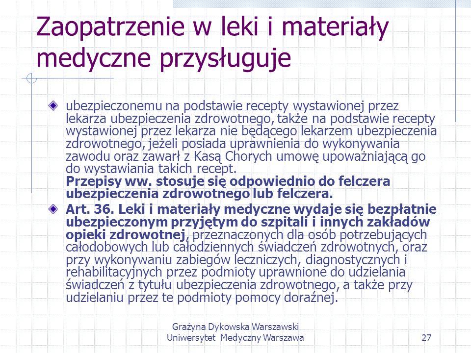 Grażyna Dykowska Warszawski Uniwersytet Medyczny Warszawa27 Zaopatrzenie w leki i materiały medyczne przysługuje ubezpieczonemu na podstawie recepty w
