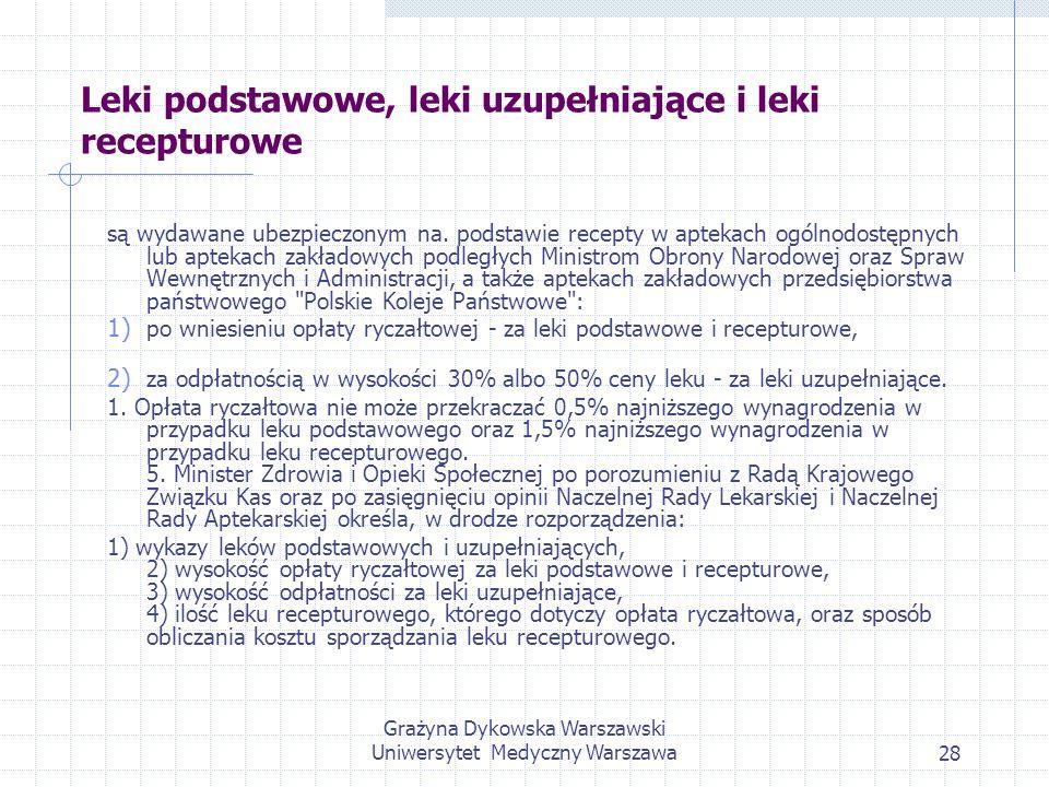 Grażyna Dykowska Warszawski Uniwersytet Medyczny Warszawa28 Leki podstawowe, leki uzupełniające i leki recepturowe są wydawane ubezpieczonym na. podst