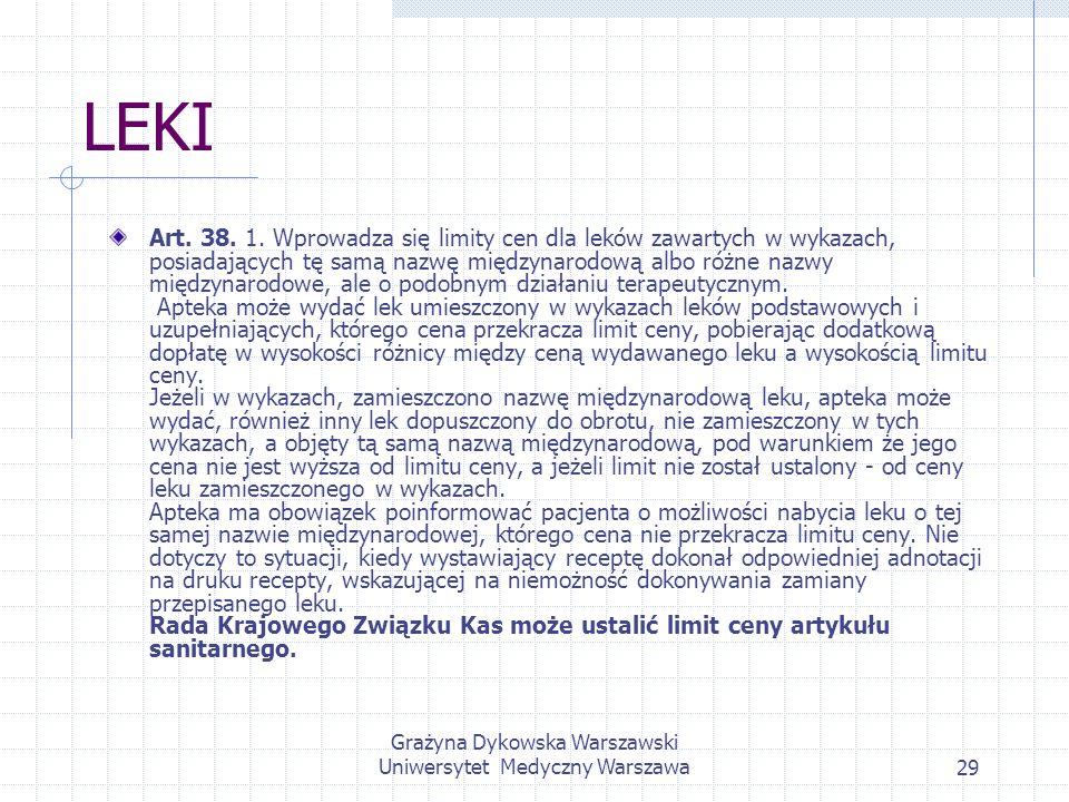 Grażyna Dykowska Warszawski Uniwersytet Medyczny Warszawa29 LEKI Art. 38. 1. Wprowadza się limity cen dla leków zawartych w wykazach, posiadających tę