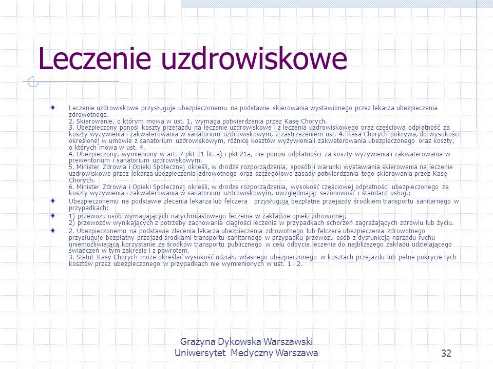 Grażyna Dykowska Warszawski Uniwersytet Medyczny Warszawa32 Leczenie uzdrowiskowe Leczenie uzdrowiskowe przysługuje ubezpieczonemu na podstawie skiero