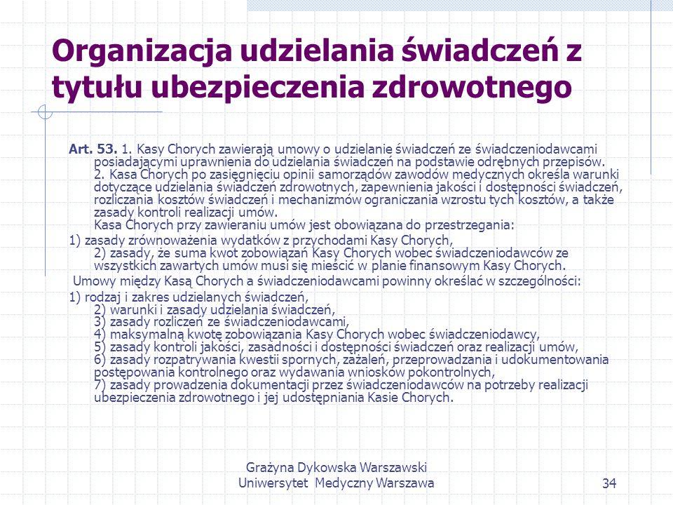 Grażyna Dykowska Warszawski Uniwersytet Medyczny Warszawa34 Organizacja udzielania świadczeń z tytułu ubezpieczenia zdrowotnego Art. 53. 1. Kasy Chory