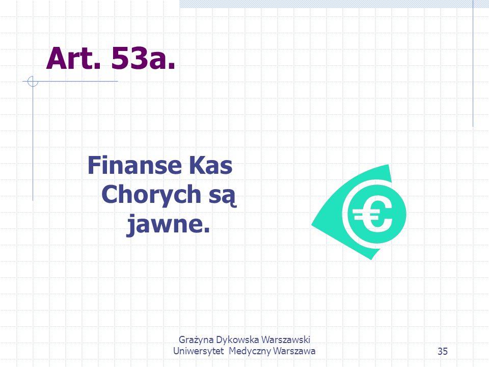 Grażyna Dykowska Warszawski Uniwersytet Medyczny Warszawa35 Art. 53a. Finanse Kas Chorych są jawne.