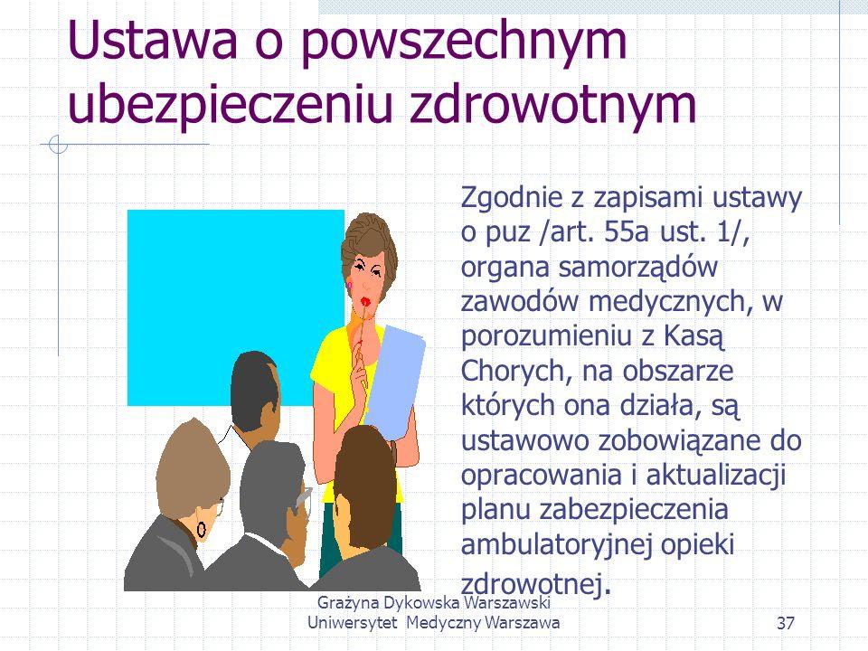 Grażyna Dykowska Warszawski Uniwersytet Medyczny Warszawa37 Ustawa o powszechnym ubezpieczeniu zdrowotnym Zgodnie z zapisami ustawy o puz /art. 55a us