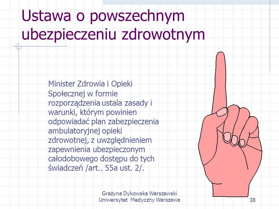 Grażyna Dykowska Warszawski Uniwersytet Medyczny Warszawa38 Ustawa o powszechnym ubezpieczeniu zdrowotnym Minister Zdrowia i Opieki Społecznej w formi