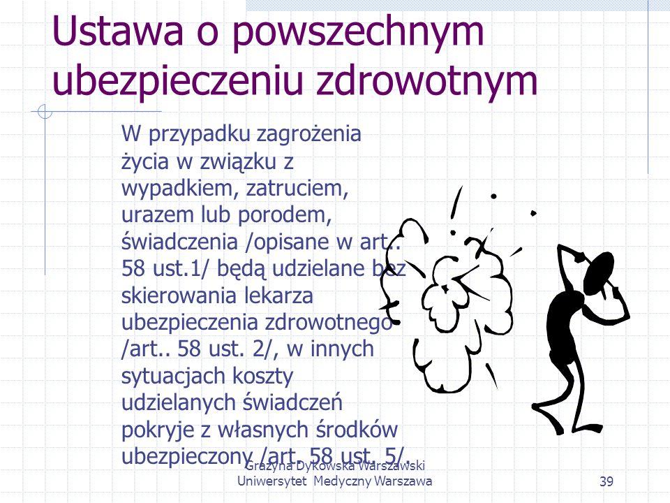 Grażyna Dykowska Warszawski Uniwersytet Medyczny Warszawa39 Ustawa o powszechnym ubezpieczeniu zdrowotnym W przypadku zagrożenia życia w związku z wyp
