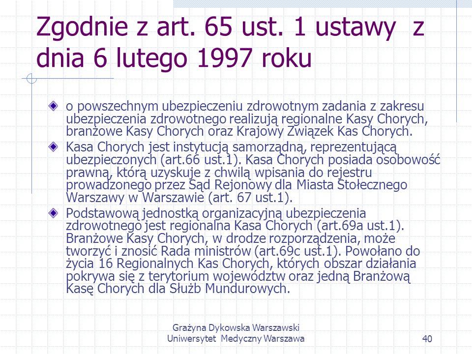 Grażyna Dykowska Warszawski Uniwersytet Medyczny Warszawa40 Zgodnie z art. 65 ust. 1 ustawy z dnia 6 lutego 1997 roku o powszechnym ubezpieczeniu zdro
