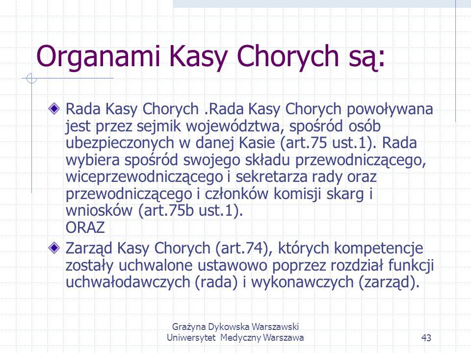 Grażyna Dykowska Warszawski Uniwersytet Medyczny Warszawa43 Organami Kasy Chorych są: Rada Kasy Chorych.Rada Kasy Chorych powoływana jest przez sejmik