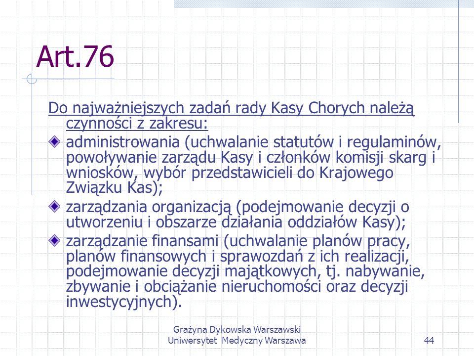 Grażyna Dykowska Warszawski Uniwersytet Medyczny Warszawa44 Art.76 Do najważniejszych zadań rady Kasy Chorych należą czynności z zakresu: administrowa