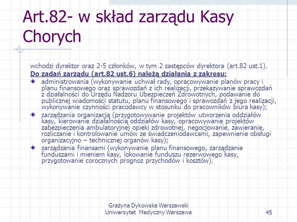 Grażyna Dykowska Warszawski Uniwersytet Medyczny Warszawa45 Art.82- w skład zarządu Kasy Chorych wchodzi dyrektor oraz 2-5 członków, w tym 2 zastępców
