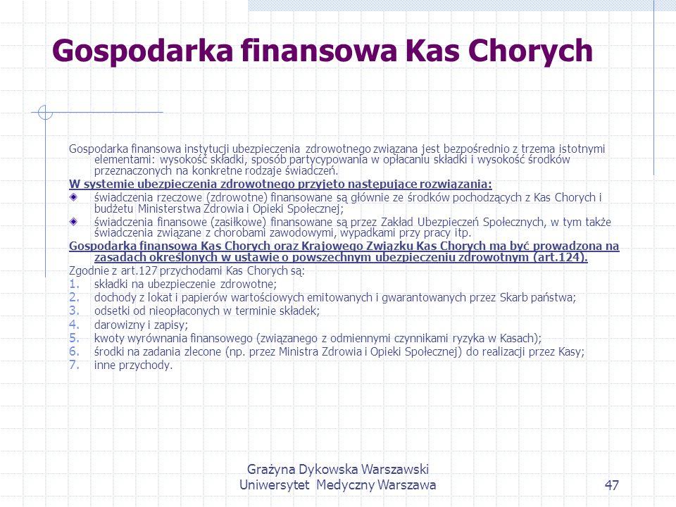 Grażyna Dykowska Warszawski Uniwersytet Medyczny Warszawa47 Gospodarka finansowa Kas Chorych Gospodarka finansowa instytucji ubezpieczenia zdrowotnego