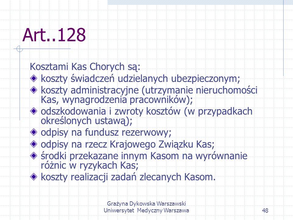 Grażyna Dykowska Warszawski Uniwersytet Medyczny Warszawa48 Art..128 Kosztami Kas Chorych są: koszty świadczeń udzielanych ubezpieczonym; koszty admin