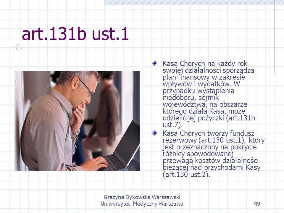 Grażyna Dykowska Warszawski Uniwersytet Medyczny Warszawa49 art.131b ust.1 Kasa Chorych na każdy rok swojej działalności sporządza plan finansowy w za