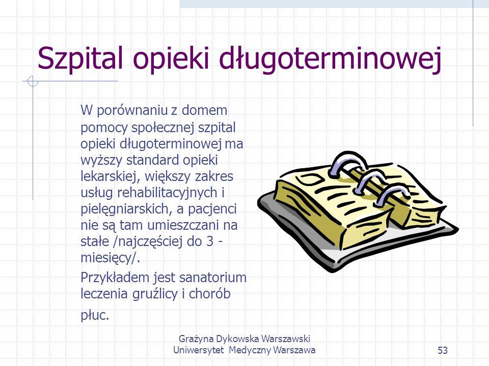 Grażyna Dykowska Warszawski Uniwersytet Medyczny Warszawa53 Szpital opieki długoterminowej W porównaniu z domem pomocy społecznej szpital opieki długo