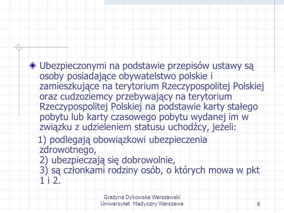 Grażyna Dykowska Warszawski Uniwersytet Medyczny Warszawa27 Zaopatrzenie w leki i materiały medyczne przysługuje ubezpieczonemu na podstawie recepty wystawionej przez lekarza ubezpieczenia zdrowotnego, także na podstawie recepty wystawionej przez lekarza nie będącego lekarzem ubezpieczenia zdrowotnego, jeżeli posiada uprawnienia do wykonywania zawodu oraz zawarł z Kasą Chorych umowę upoważniającą go do wystawiania takich recept.