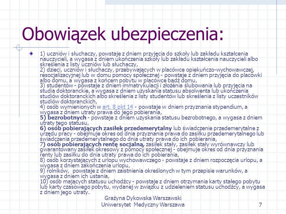 Grażyna Dykowska Warszawski Uniwersytet Medyczny Warszawa7 Obowiązek ubezpieczenia: 1) uczniów i słuchaczy, powstaje z dniem przyjęcia do szkoły lub z