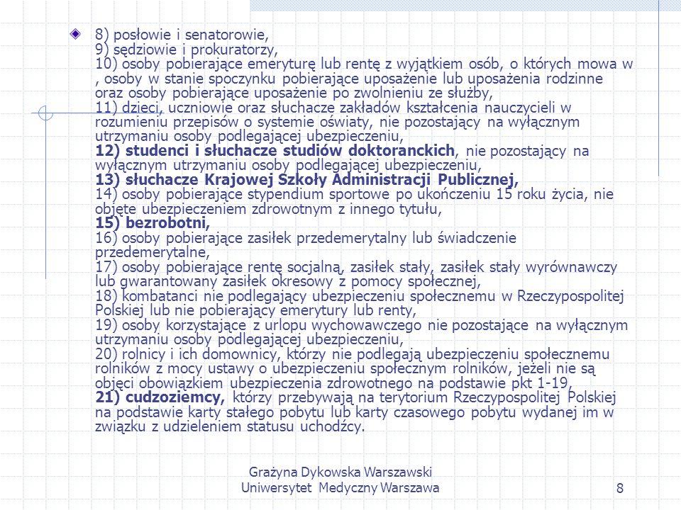 Grażyna Dykowska Warszawski Uniwersytet Medyczny Warszawa19 Składka na ubezpieczenie zdrowotne rolnika podlegającego ubezpieczeniu społecznemu rolników jest równa kwocie odpowiadającej cenie połowy kwintala żyta z każdego hektara przeliczeniowego użytków rolnych w prowadzonym gospodarstwie rolnym, ustalonej dla celów wymiaru podatku rolnego 2.