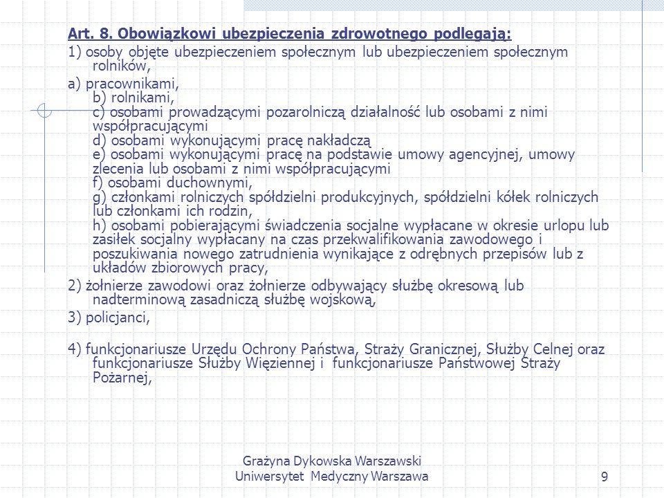 Grażyna Dykowska Warszawski Uniwersytet Medyczny Warszawa9 Art. 8. Obowiązkowi ubezpieczenia zdrowotnego podlegają: 1) osoby objęte ubezpieczeniem spo