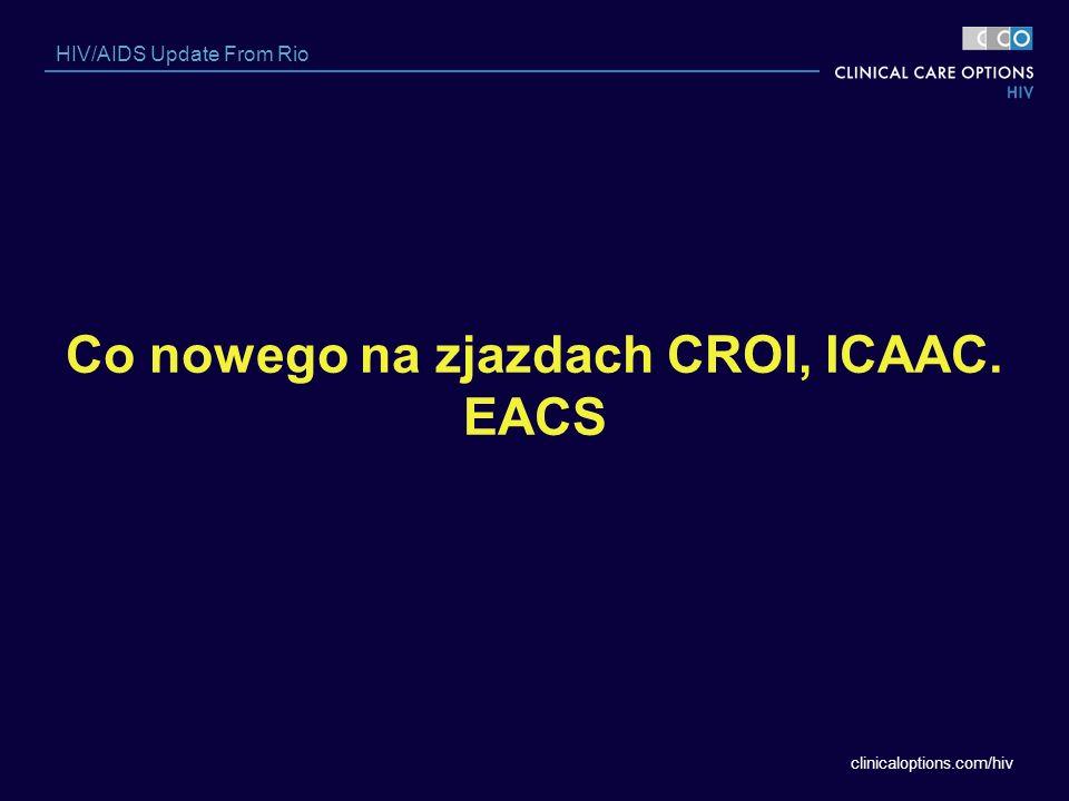 clinicaloptions.com/hiv HIV/AIDS Update From Rio Co nowego na zjazdach CROI, ICAAC. EACS