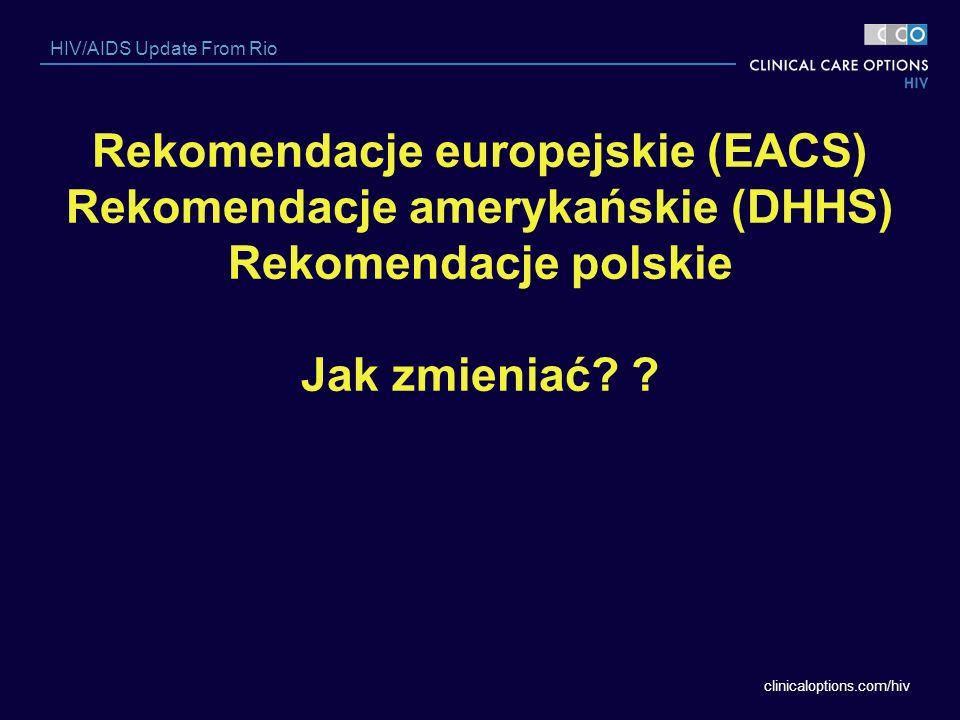 clinicaloptions.com/hiv HIV/AIDS Update From Rio Rekomendacje europejskie (EACS) Rekomendacje amerykańskie (DHHS) Rekomendacje polskie Jak zmieniać? ?