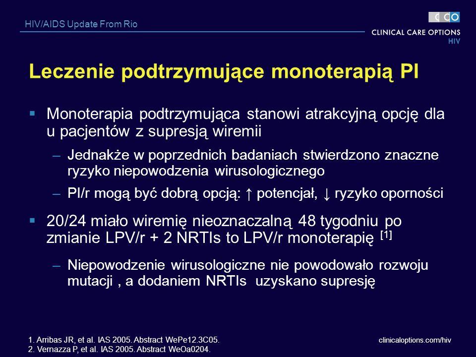 clinicaloptions.com/hiv HIV/AIDS Update From Rio Leczenie podtrzymujące monoterapią PI Monoterapia podtrzymująca stanowi atrakcyjną opcję dla u pacjen