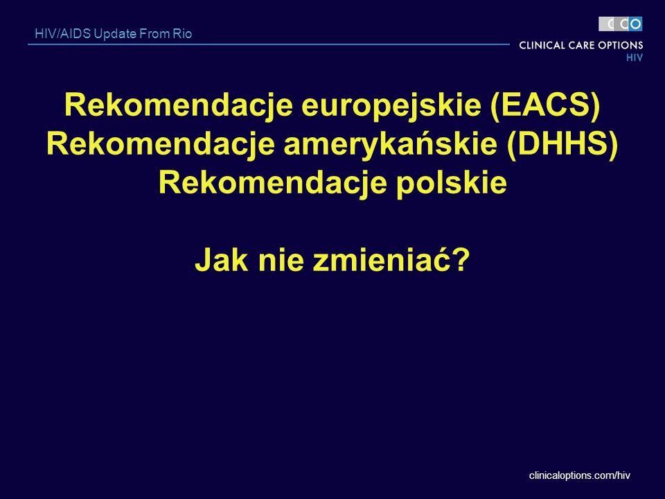 clinicaloptions.com/hiv HIV/AIDS Update From Rio Rekomendacje europejskie (EACS) Rekomendacje amerykańskie (DHHS) Rekomendacje polskie Jak nie zmienia
