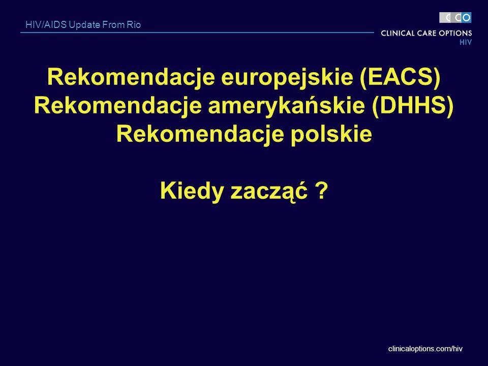 clinicaloptions.com/hiv HIV/AIDS Update From Rio Rekomendacje europejskie (EACS) Rekomendacje amerykańskie (DHHS) Rekomendacje polskie Kiedy zacząć ?