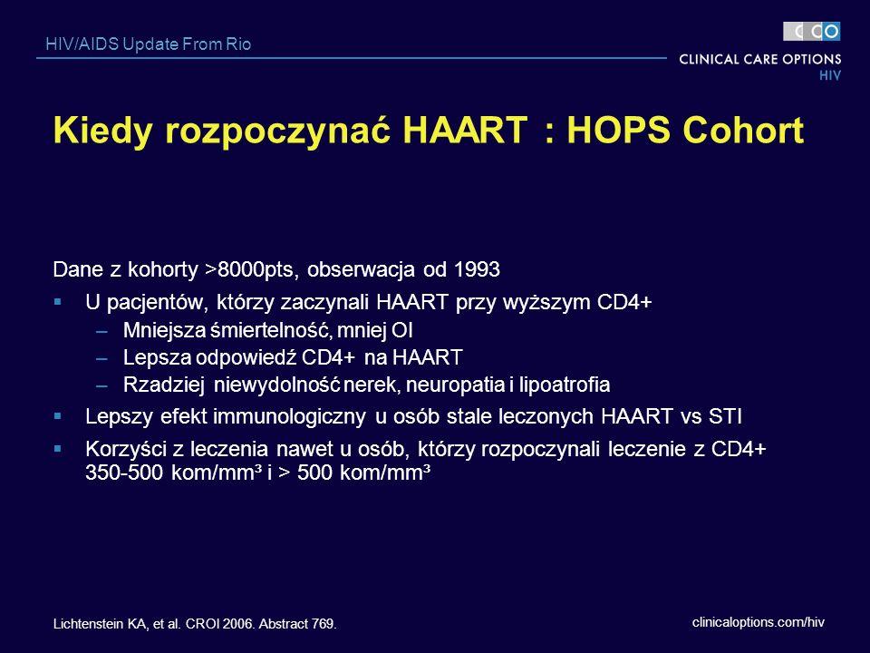 clinicaloptions.com/hiv HIV/AIDS Update From Rio Kiedy rozpoczynać HAART : HOPS Cohort Dane z kohorty >8000pts, obserwacja od 1993 U pacjentów, którzy