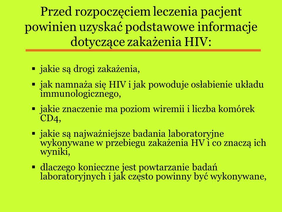 Przed rozpoczęciem leczenia pacjent powinien uzyskać podstawowe informacje dotyczące zakażenia HIV: jakie są drogi zakażenia, jak namnaża się HIV i ja