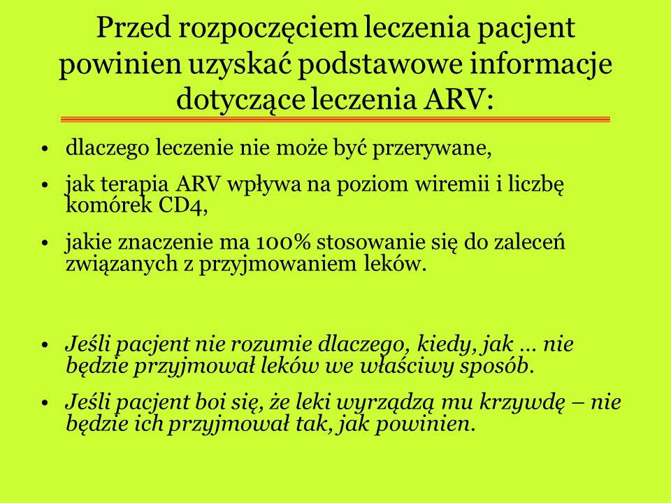 Przed rozpoczęciem leczenia pacjent powinien uzyskać podstawowe informacje dotyczące leczenia ARV: dlaczego leczenie nie może być przerywane, jak tera