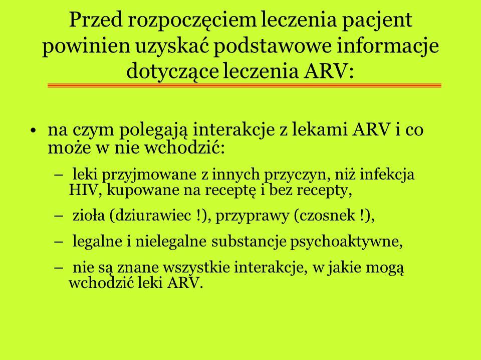 Przed rozpoczęciem leczenia pacjent powinien uzyskać podstawowe informacje dotyczące leczenia ARV: na czym polegają interakcje z lekami ARV i co może
