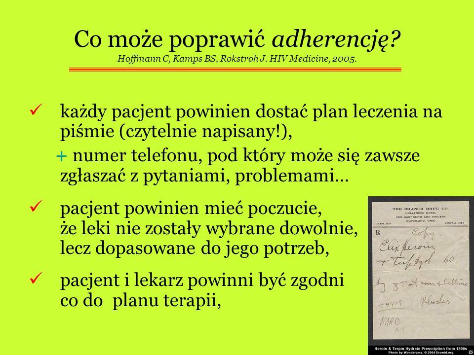 Co może poprawić adherencję? Hoffmann C, Kamps BS, Rokstroh J. HIV Medicine, 2005. każdy pacjent powinien dostać plan leczenia na piśmie (czytelnie na