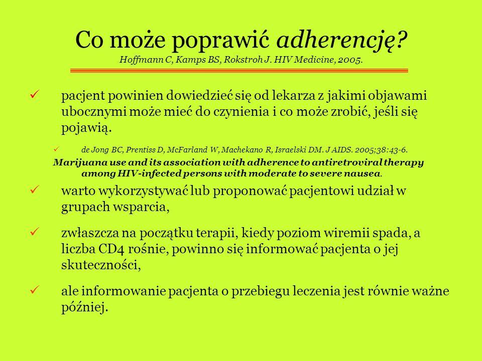 Co może poprawić adherencję? Hoffmann C, Kamps BS, Rokstroh J. HIV Medicine, 2005. pacjent powinien dowiedzieć się od lekarza z jakimi objawami uboczn