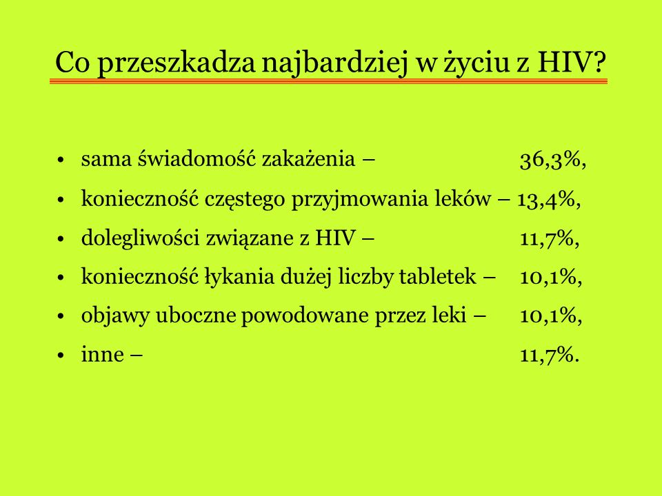 Co przeszkadza najbardziej w życiu z HIV? sama świadomość zakażenia – 36,3%, konieczność częstego przyjmowania leków – 13,4%, dolegliwości związane z