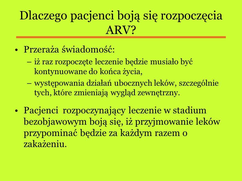 Dlaczego pacjenci boją się rozpoczęcia ARV? Przeraża świadomość: –iż raz rozpoczęte leczenie będzie musiało być kontynuowane do końca życia, –występow