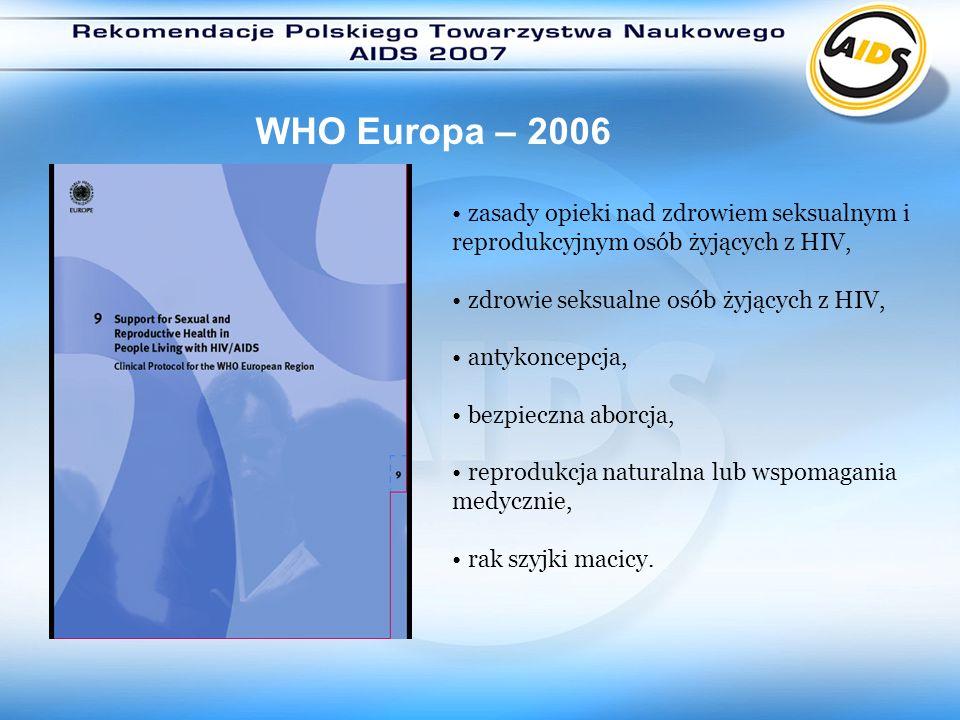 WHO Europa – 2006 zasady opieki nad zdrowiem seksualnym i reprodukcyjnym osób żyjących z HIV, zdrowie seksualne osób żyjących z HIV, antykoncepcja, be