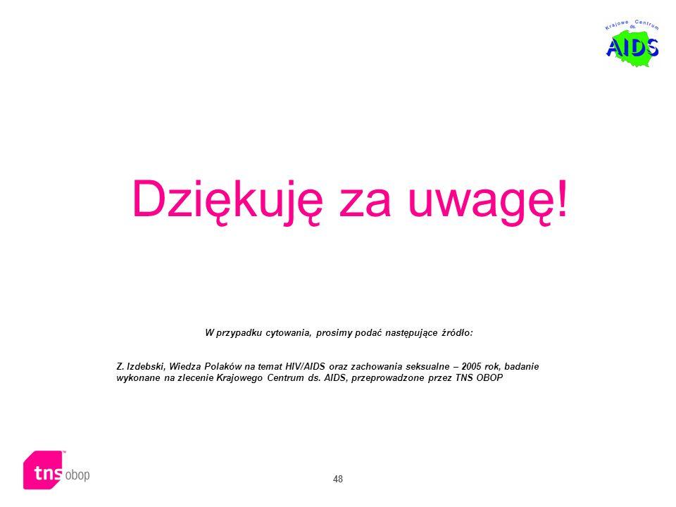 48 Dziękuję za uwagę! W przypadku cytowania, prosimy podać następujące źródło: Z. Izdebski, Wiedza Polaków na temat HIV/AIDS oraz zachowania seksualne