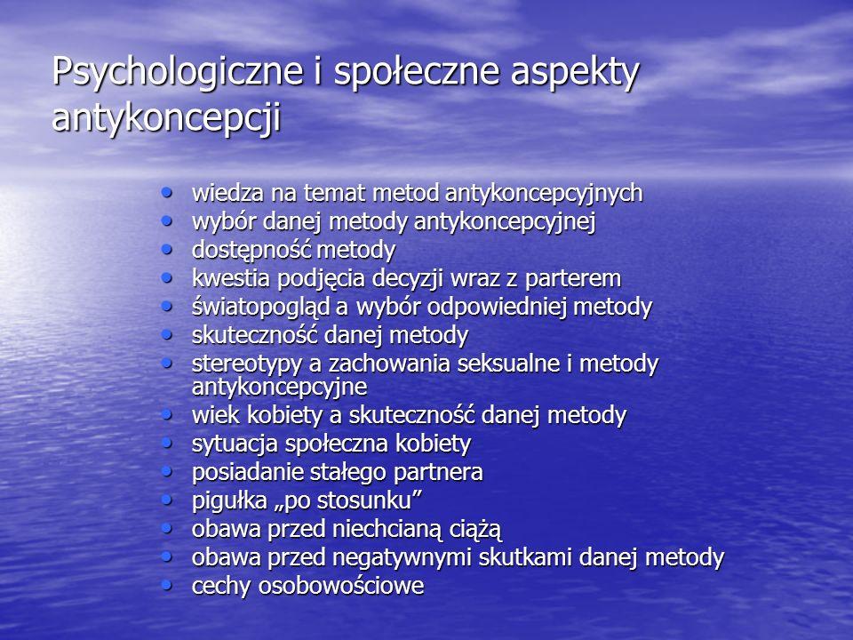 Psychologiczne i społeczne aspekty antykoncepcji wiedza na temat metod antykoncepcyjnych wiedza na temat metod antykoncepcyjnych wybór danej metody an