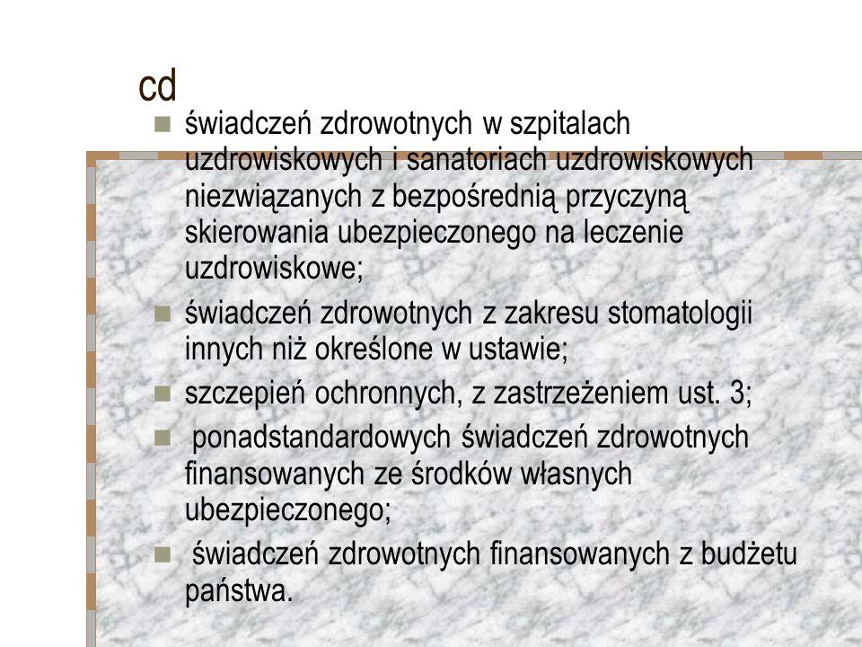 cd świadczeń zdrowotnych w szpitalach uzdrowiskowych i sanatoriach uzdrowiskowych niezwiązanych z bezpośrednią przyczyną skierowania ubezpieczonego na