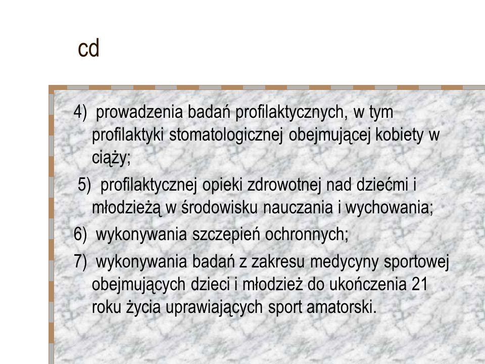 cd 4) prowadzenia badań profilaktycznych, w tym profilaktyki stomatologicznej obejmującej kobiety w ciąży; 5) profilaktycznej opieki zdrowotnej nad dz