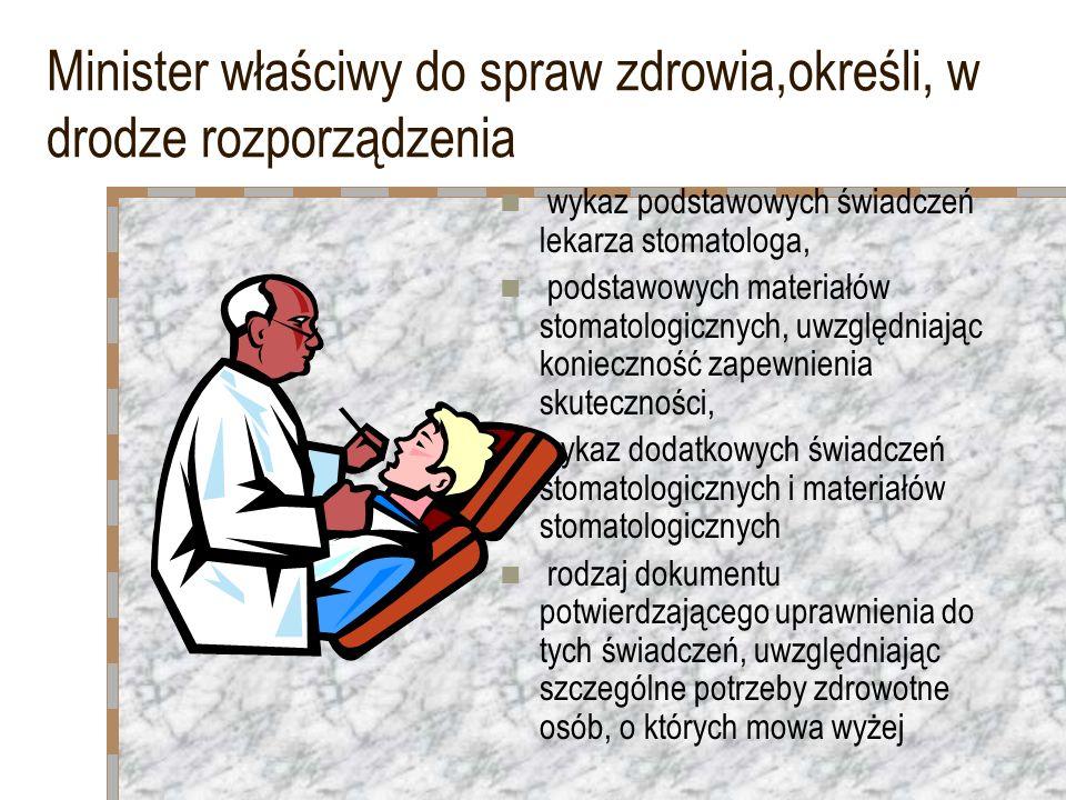Minister właściwy do spraw zdrowia,określi, w drodze rozporządzenia wykaz podstawowych świadczeń lekarza stomatologa, podstawowych materiałów stomatol