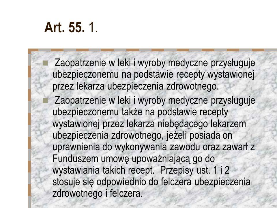 Art. 55. 1. Zaopatrzenie w leki i wyroby medyczne przysługuje ubezpieczonemu na podstawie recepty wystawionej przez lekarza ubezpieczenia zdrowotnego.