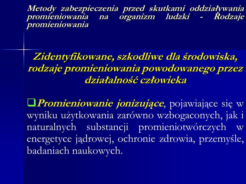 Metody zabezpieczenia przed skutkami oddziaływania promieniowania na organizm ludzki - Rodzaje promieniowania Zidentyfikowane, szkodliwe dla środowisk